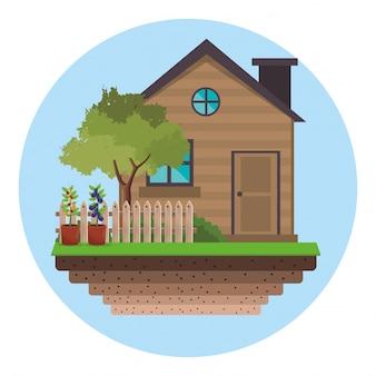 Дом с забором сад