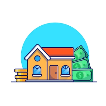 House with gold coins money  illustration. real estate investment concept. building  white isolated