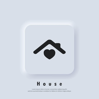 House with heart, love home symbol. hospital. happy family. vector. ui icon. neumorphic ui ux white user interface web button. neumorphism