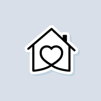 House with heart sticker, love home symbol. hospital. happy family. vector on isolated background. eps 10.