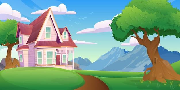 漫画風の山の景色を望む家