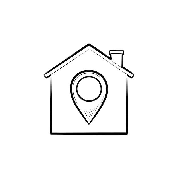 Дом с навигационной меткой рисованной наброски каракули значок. недвижимость, навигация, собственность, концепция местоположения. векторная иллюстрация эскиз для печати, интернета, мобильных устройств и инфографики на белом фоне.