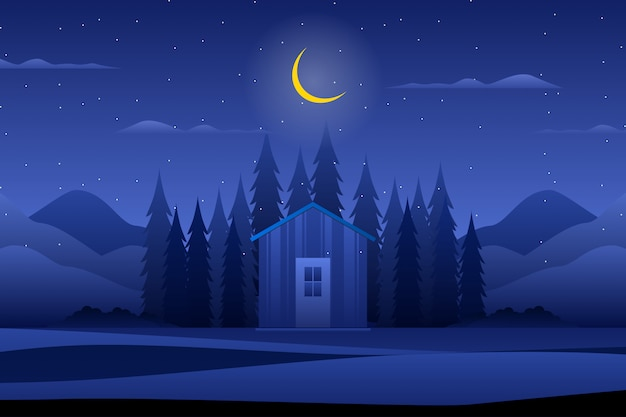 House with night forest