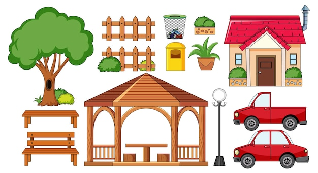 A house with outdoor decoration set isolated