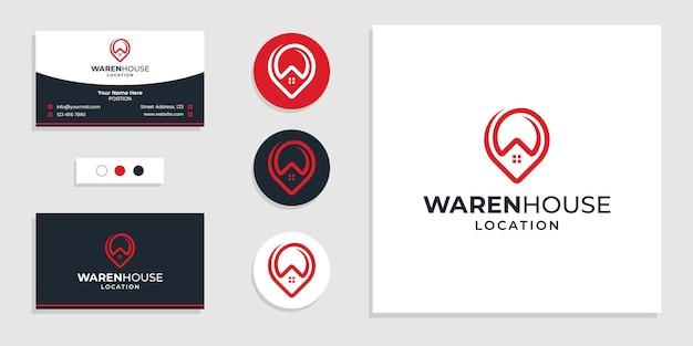 ピンマークの場所のロゴと名刺のデザインテンプレートと家