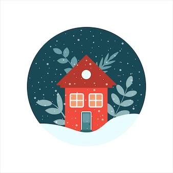 눈송이 벡터 평면 일러스트와 함께 겨울에 밤하늘이 있는 원 안에 식물이 있는 집