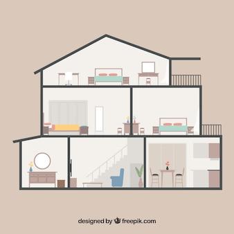 フラットなデザインの6部屋ある家