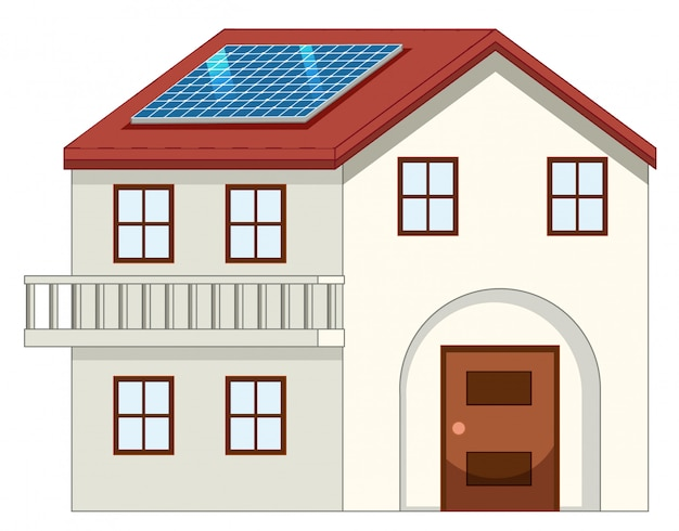 Дом с солнечной батареей на крыше