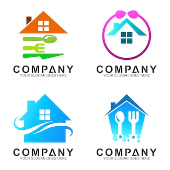 House with spoon fork logo design for kitchen/restaurant/dining