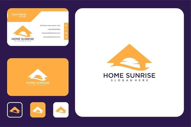 Дом с дизайном логотипа восхода солнца и визитной карточкой