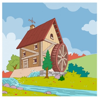 House with water mill on the river