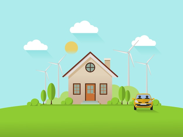 House with wind turbine and smart car.