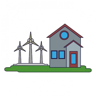 House with wind turbines symbol