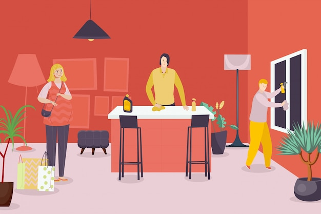 Дом работа людей иллюстрации. персонаж члена семьи делает домашнюю работу в комнате мультфильм. домохозяйка принесла пакеты