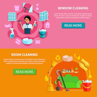Housecleaning horizontal banners set
