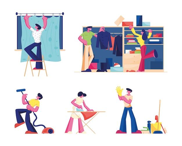 家庭活動セット。洗浄装置を備えた男性と女性のキャラクター。漫画フラットイラスト