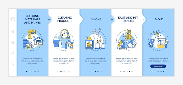 Household air pollution onboarding vector template. responsive mobile website with icons. web page walkthrough 5 step screens. cleaning products, dust color concept with linear illustrations