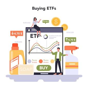 家庭用および個人用製品業界のオンラインサービスまたはプラットフォーム。洗濯用品とセルフケアの生産。 etfの購入。フラットベクトル図