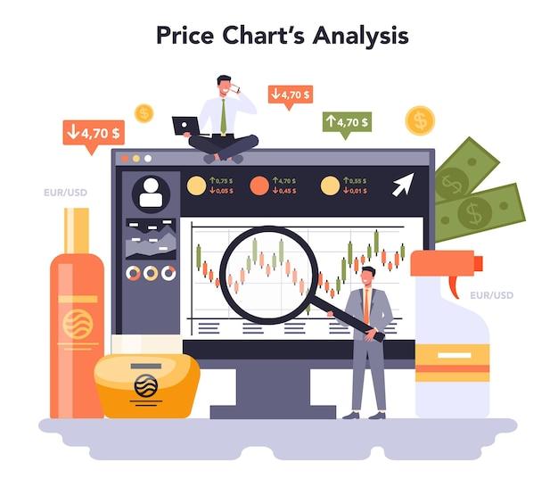 家庭用および個人用製品業界のオンラインサービスまたはプラットフォーム。洗濯用品とセルフケアの生産。価格チャート分析。フラットベクトルイラスト