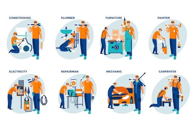 世帯および革新の職業セット