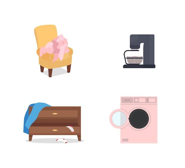 家電と家具フラットカラーオブジェクト漫画イラスト
