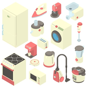 Household appliance icons set in cartoon style