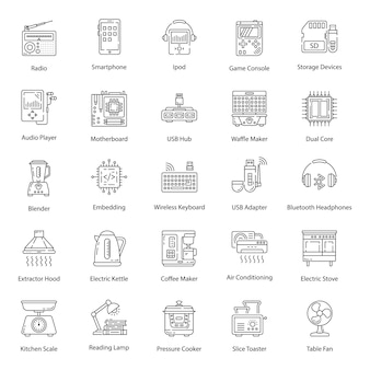Household appliance line icons pack