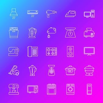 家庭用電化製品のラインアイコン。ぼやけた背景上のアウトライン電子シンボルのベクトル図。
