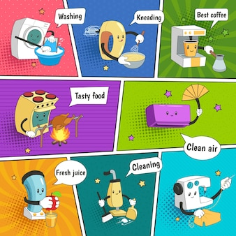 Household appliances bright colorful comic page with funny icons showing home electrical equipment