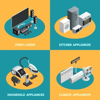 Household appliances isometric elements square