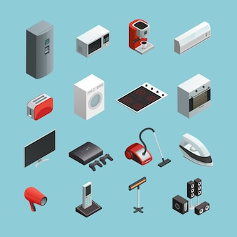 Household appliances isometric icons set