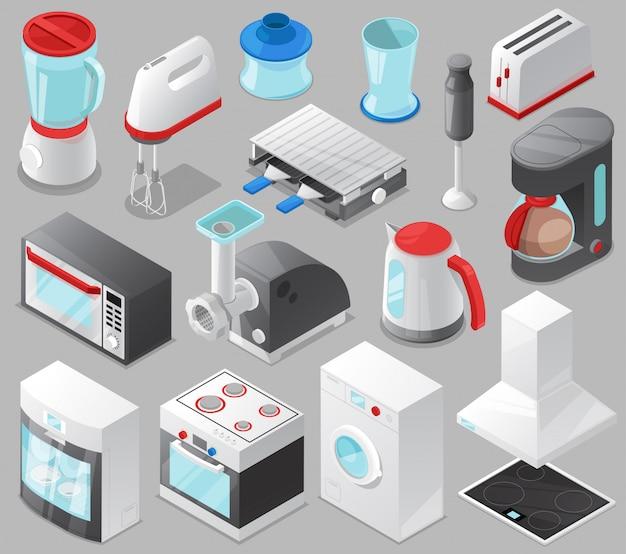 가전 제품 가게 아이소 메트릭 그림 배경에 고립 된 전기 상점과 전자 레인지에서 밥솥 또는 세탁기를 설정하는 가전 주방 homeappliance