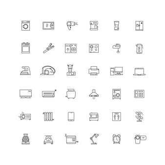 Household appliances line vector icons.