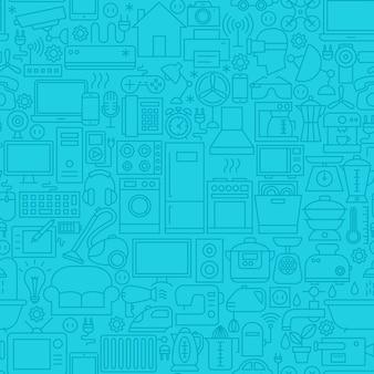 家庭用ブルーラインタイルパターン。アウトラインの背景のベクトル図です。