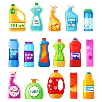 Бытовая химия и бутылки с моющими средствами