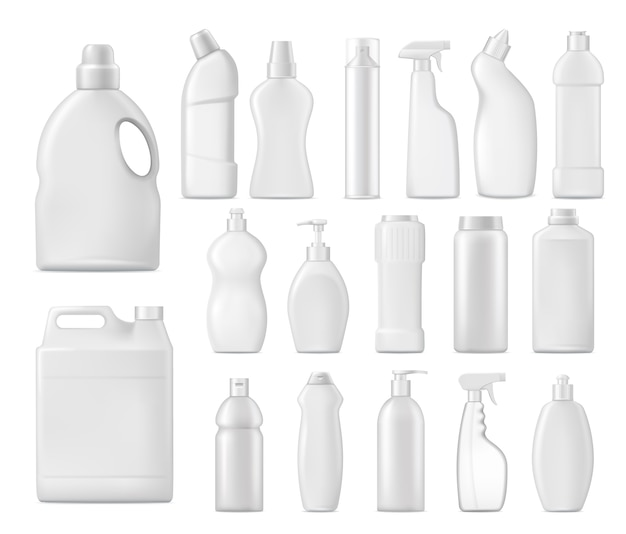 Household chemicals bottles, detergent blank packages