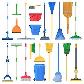 Швабры для бытовой уборки, метла, подметальные устройства, совки и пластиковые ведра. тряпка для очистки, швабра, метла, тряпка для перьев и совок векторные иллюстрации набор. принадлежности для уборки дома