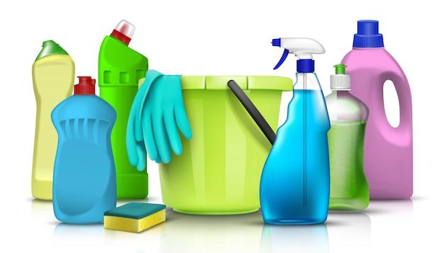 Бытовая химия и аксессуары коллекция кухонной и бытовой посуды и бутылок с пластиковым ведром и перчатками. иллюстрации.