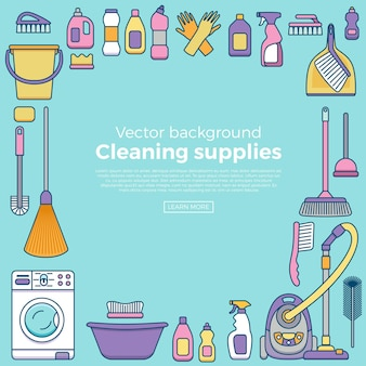 Household cleaning supplies banner with elements set in outline flat style.