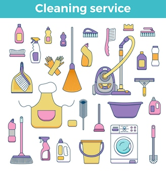 Household cleaning supplies isolated elements set in outline flat style.