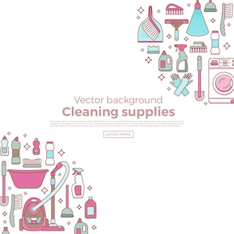 Household cleaning supplies template with elements set in outline flat style.
