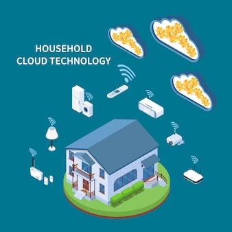 Household cloud technology isometric composition with residential building wifi appliances and devices blue green