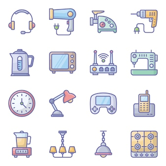 Household devices flat icons pack