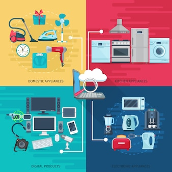 Household elements concept set of domestic appliances kitchen equipment and digital products square composition flat vector illustration