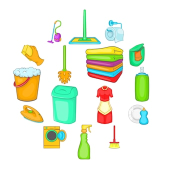 Household elements icons set, cartoon style