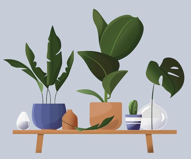 鉢植えの家庭用花。スカンジナビアスタイルの美しいイラスト。熱帯の葉、花瓶、鉢、フラワースタンド。漫画のフラットスタイルで描く