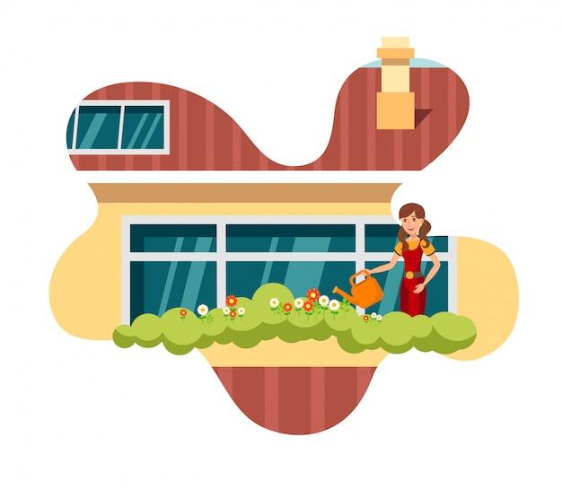 Household garden flat color vector illustration