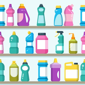 Household goods and cleaning supplies on supermarket shelves seamless vector background