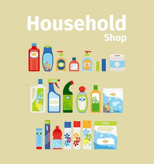 Household goods shop icon set