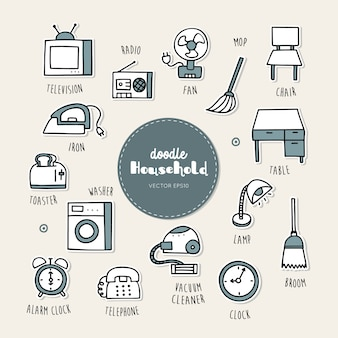 Household hand drawn doodle icons set.